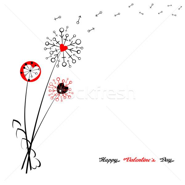 Bloemen symbolen gestileerde valentijnsdag groet liefde Stockfoto © Mayamy