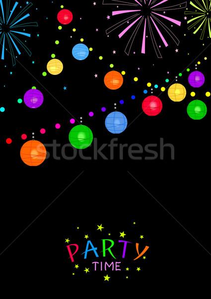 Party time heldere chinese lantaarns vuurwerk zwarte Stockfoto © Mayamy
