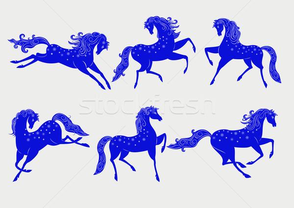 Collectie Blauw paarden gestileerde symbool 2014 Stockfoto © Mayamy