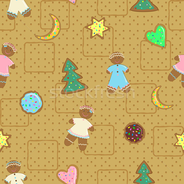 Gingerbread man cookies christmas man achtergrond Stockfoto © Mayamy