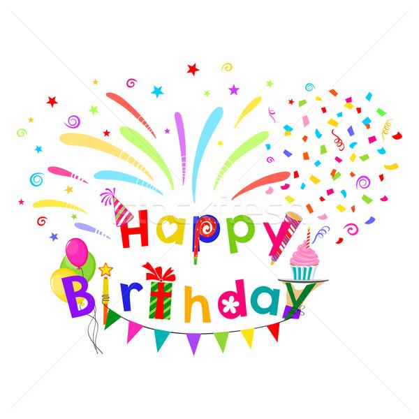 Verjaardag groet grappig gelukkige verjaardag traditioneel frame Stockfoto © Mayamy