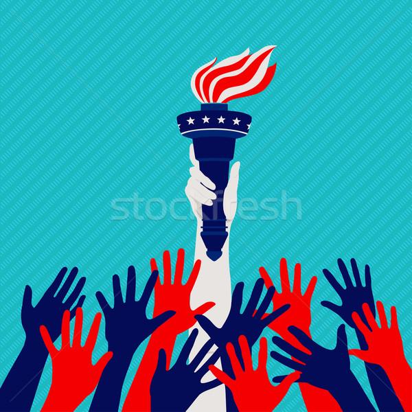 Stockfoto: Handen · omhoog · handen · standbeeld · vrijheid · kleuren · amerikaanse