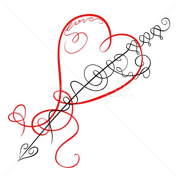Stockfoto: Decoratief · hart · pijl · liefde · ontwerp