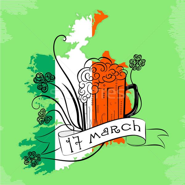 Dag vintage St Patrick's Day kaart Ierland bier Stockfoto © Mayamy