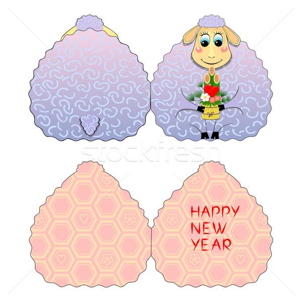 Stockfoto: Kaart · schapen · origineel · wenskaart · nieuwjaar · grappig