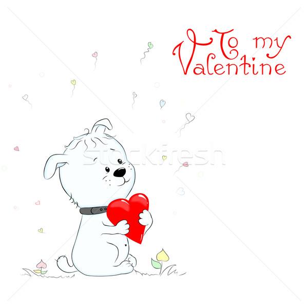 Puppy hart grappig gelukkig Valentijn Stockfoto © Mayamy