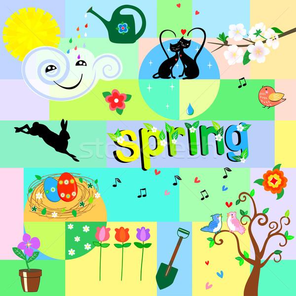 Stockfoto: Grappig · voorjaar · heldere · communie · natuur · lifestyle