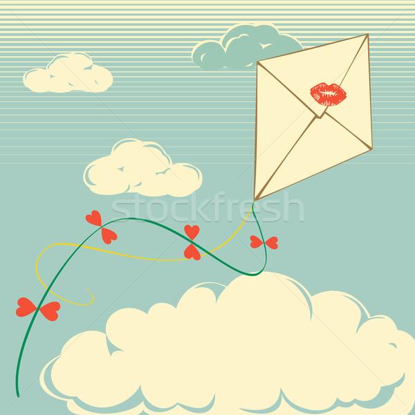 Envelop retro Kite vliegen bewolkt briefkaart Stockfoto © Mayamy
