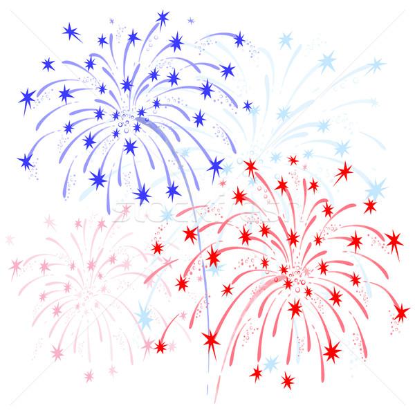 Vuurwerk Rood Blauw vector kleurrijk eren Stockfoto © Mayamy