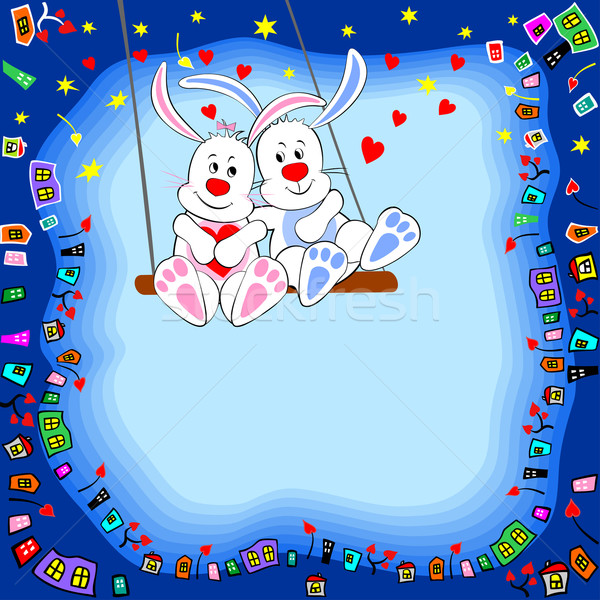 Konijnen swing heldere vrolijk kaart liefde Stockfoto © Mayamy