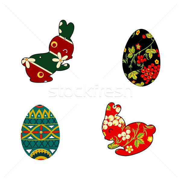 Rabino ovos de páscoa folclore conjunto silhuetas estilo Foto stock © Mayamy