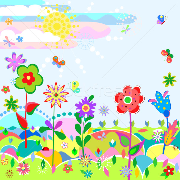 Zomer weide gestileerde landschap grappig bloemen Stockfoto © Mayamy