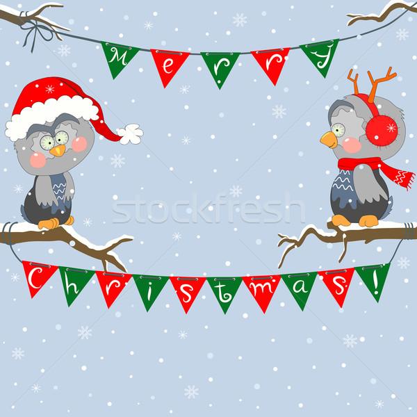 Christmas uilen amusant weinig kan Stockfoto © Mayamy