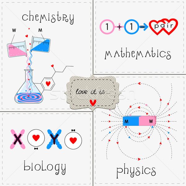 Ingesteld liefde grappig groet kaarten chemie Stockfoto © Mayamy