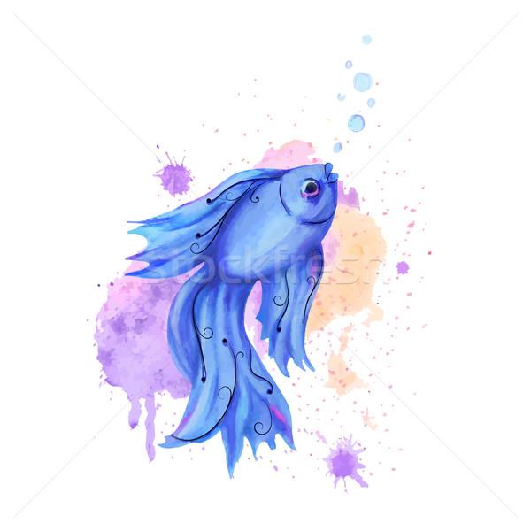Aquarel vis gestileerde Blauw druppels water Stockfoto © Mayamy