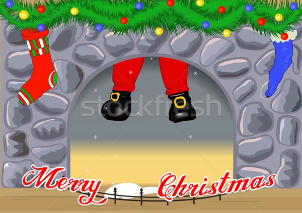 Haard kerstman ingericht man kunst Stockfoto © Mayamy