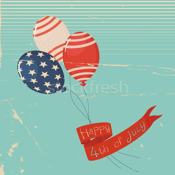 Vintage dag amerikaanse ballonnen vaderlandslievend kleuren Stockfoto © Mayamy