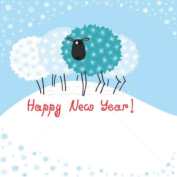 Tarjeta de felicitación ovejas Navidad estilizado árboles pueden Foto stock © Mayamy