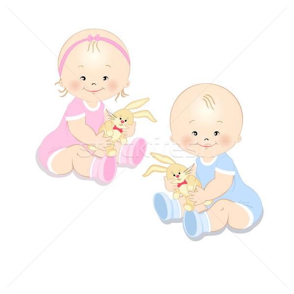 Stockfoto: Peuters · speelgoed · meisje · jongen · konijn