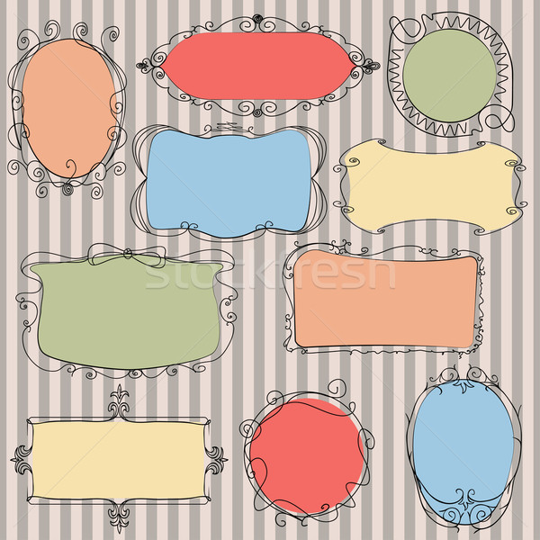 Ingesteld doodle frames cute gestreept frame Stockfoto © Mayamy