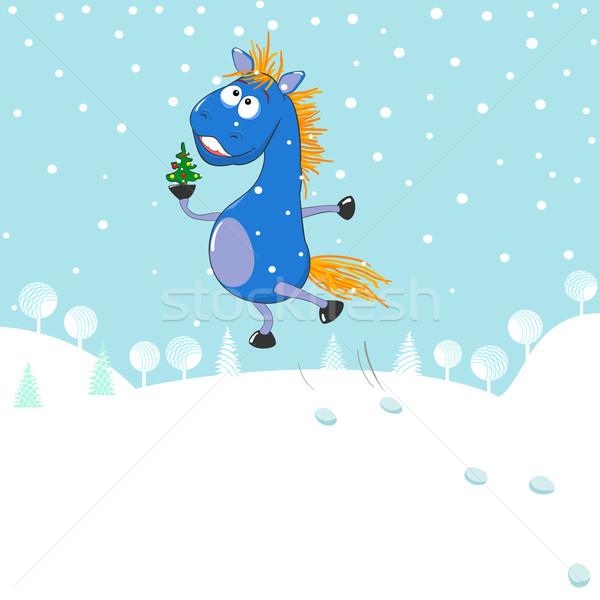 Weinig Blauw paard klein kerstboom winter Stockfoto © Mayamy