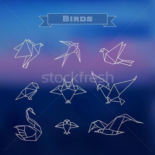 Ingesteld vogels modieus gestileerde origami schets Stockfoto © Mayamy