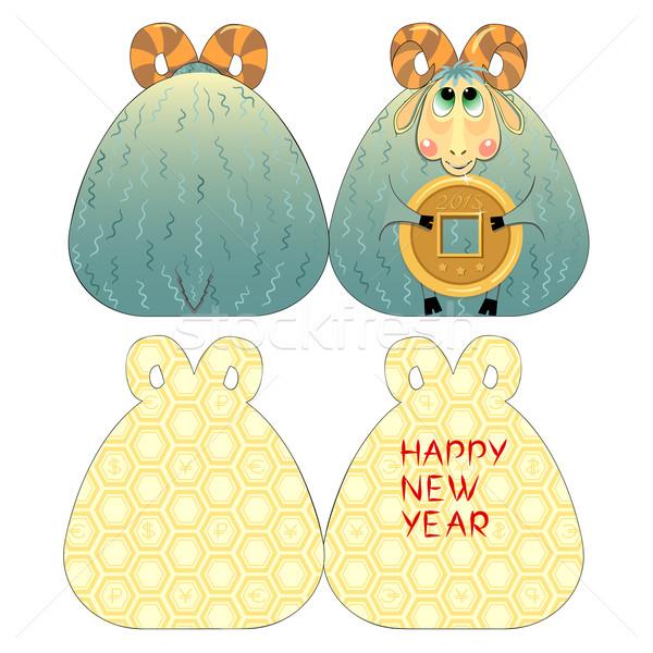 Stockfoto: Kaart · geit · origineel · wenskaart · nieuwjaar · grappig