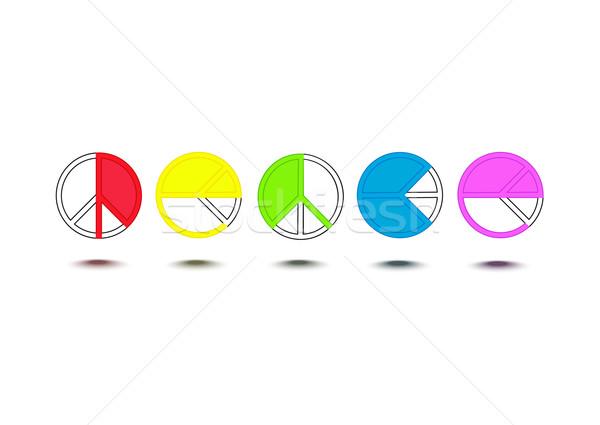 Stockfoto: Vrede · woord · hippie · symbolen · regenboog · geïsoleerd