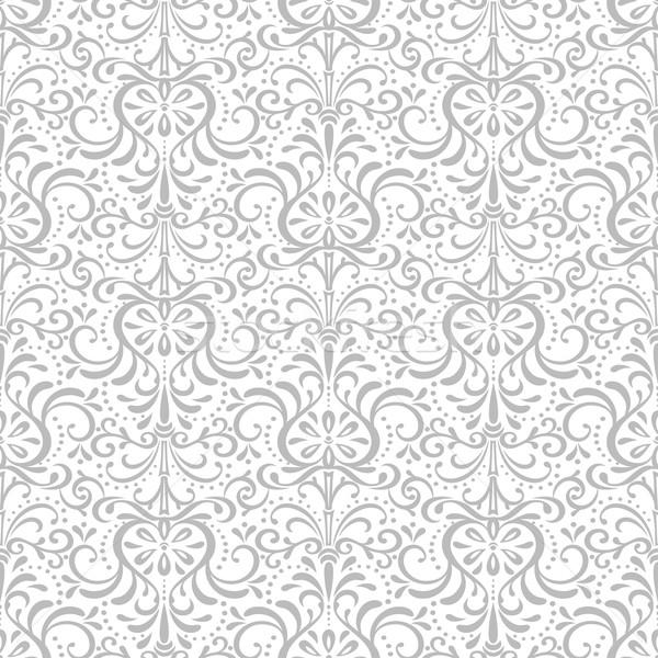 Stockfoto: Twee · decoratief · patroon · naadloos · Oost · grijs