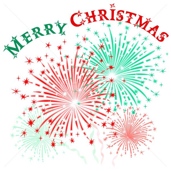 Christmas vuurwerk vector kleurrijk eren witte Stockfoto © Mayamy