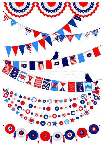 Ingesteld amerikaanse decoraties communie landschap vlaggen Stockfoto © Mayamy