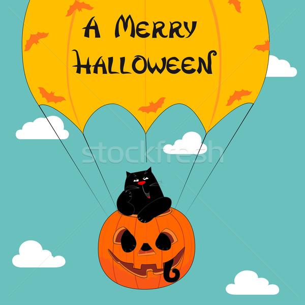 Halloween groet grappig kat kaart Stockfoto © Mayamy