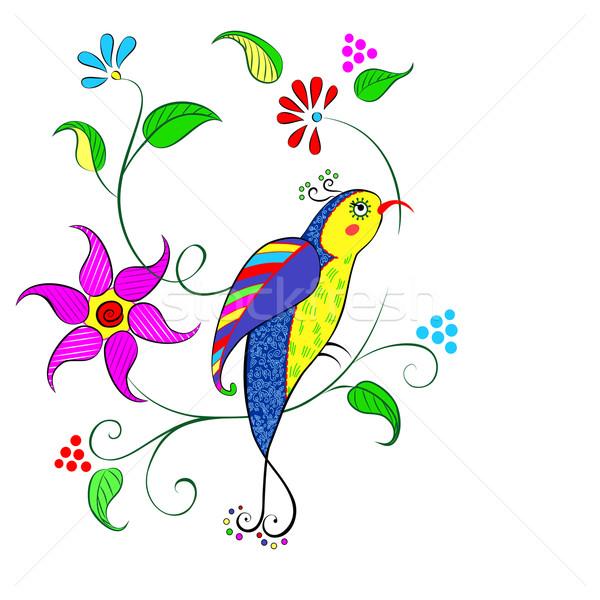 Bloemen vogel decoratief heldere kan gebruikt Stockfoto © Mayamy