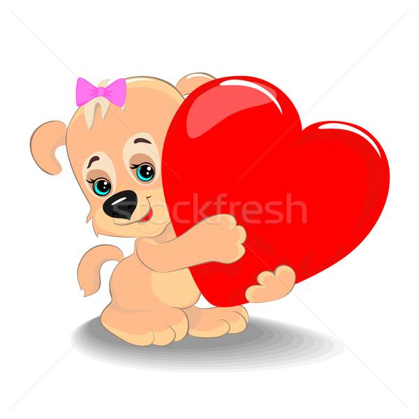 Puppy hart cute groot symbool liefde Stockfoto © Mayamy