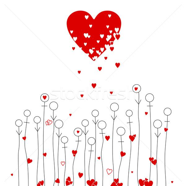 Liefde bloemen abstract harten man vrouw Stockfoto © Mayamy