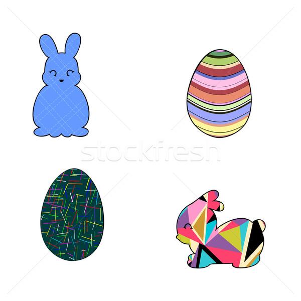Stok fotoğraf: Tavşanlar · paskalya · yumurtası · soyut · ayarlamak · siluetleri · tavşan