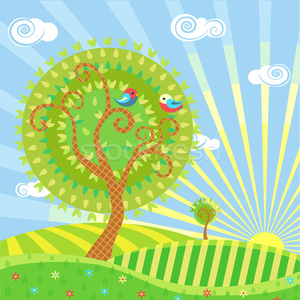 Zomer gestileerde illustratie landschap bomen Stockfoto © Mayamy