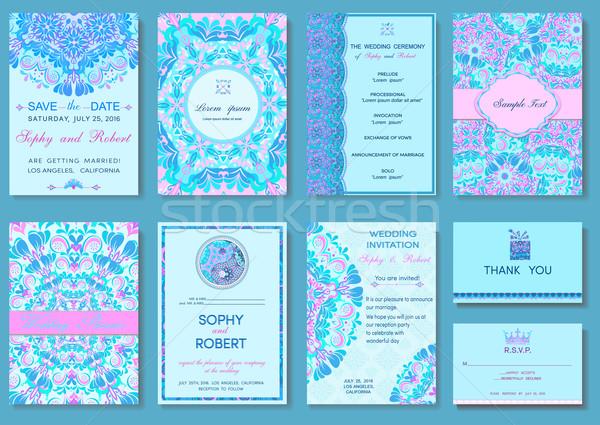 Ingesteld folders ornament luxe sjablonen uitnodigingen Stockfoto © Mayamy