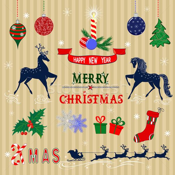 Christmas decoraties ingesteld gekleurd communie ontwerp Stockfoto © Mayamy