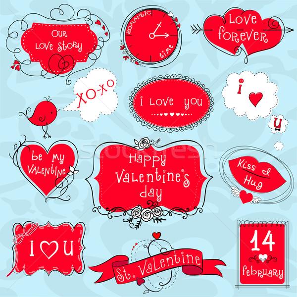 Doodle Valentijn frames ingesteld cute valentijnsdag Stockfoto © Mayamy