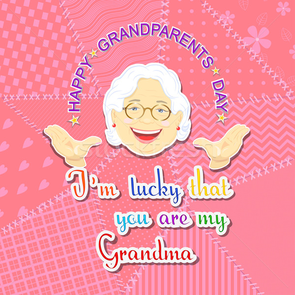 Nagymama nagyapa nap üdvözlet nagyszülők kifejezés Stock fotó © Mayamy