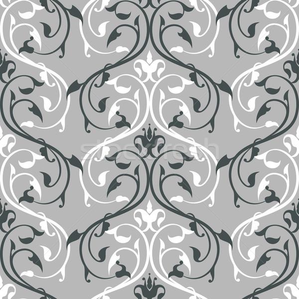 Damast patroon planten grijs bloem Stockfoto © Mayamy