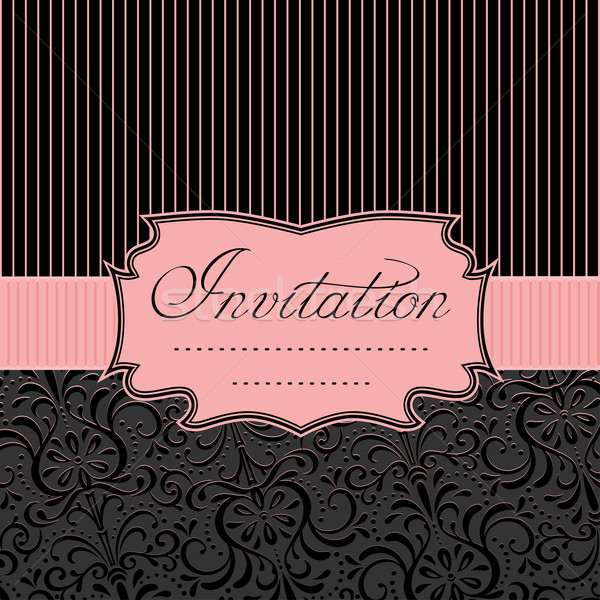 Uitnodiging vintage kaart zwarte roze Stockfoto © Mayamy