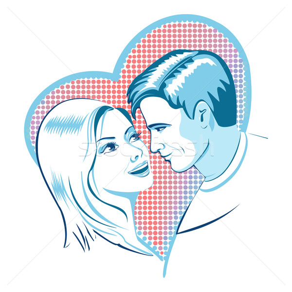 Love, man and woman with heart Stock photo © Mayamy