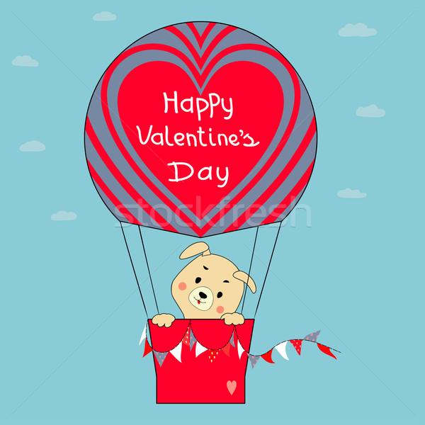 Puppy ballon wenskaart gelukkig Valentijn Blauw Stockfoto © Mayamy