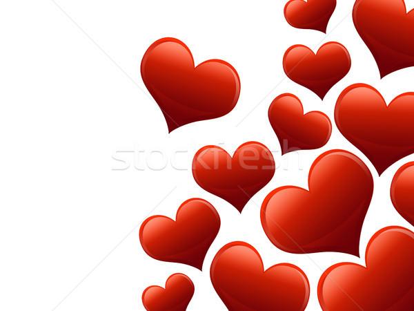 Sevgililer günü kart kalpler tüm kırmızı doku Stok fotoğraf © Mazirama