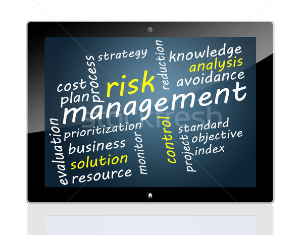 Comprimido gestão de risco palavra membro nuvem computador Foto stock © Mazirama