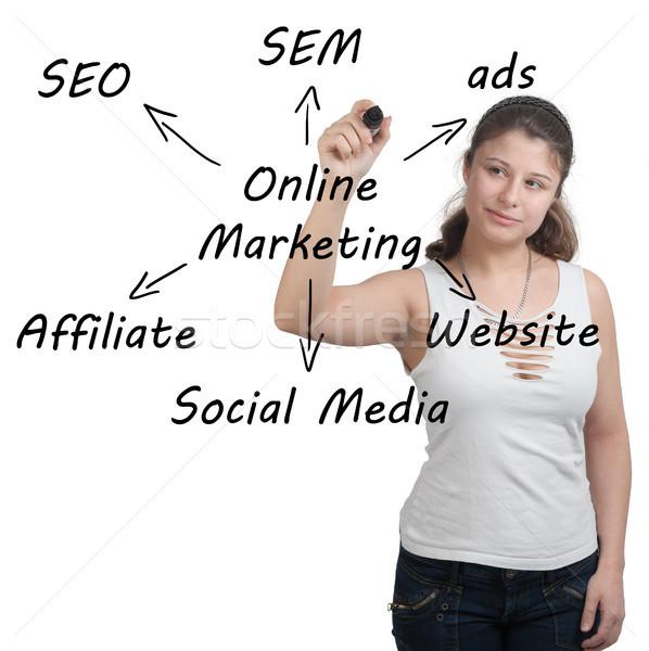 Online marketing marketing zakenvrouw schrijven schema Stockfoto © Mazirama