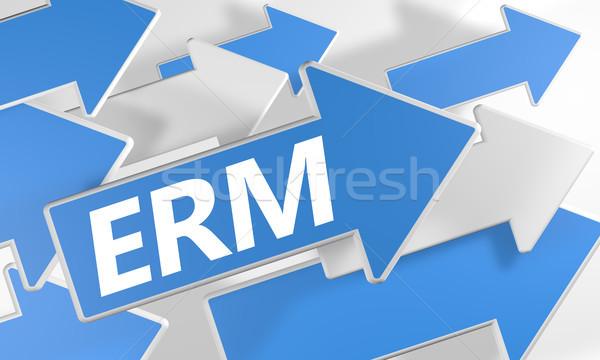 Empresa gestión 3d azul blanco flechas Foto stock © Mazirama