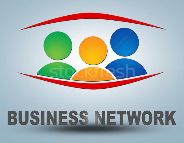 Business network tekst ilustracja szary grupy ludzi ikona Zdjęcia stock © Mazirama